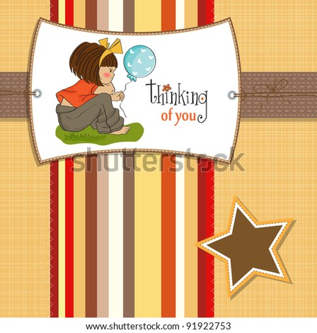 pretty young girl sitting - stock vector
