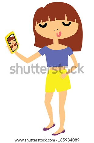 Pretty Young Girl Taking a Selfie Photo on Smart Phone