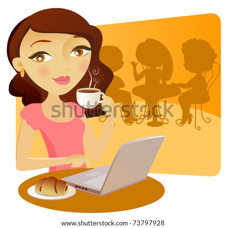 Pretty young girl with a computer in a bar, taking coffe with a cake - stock vector