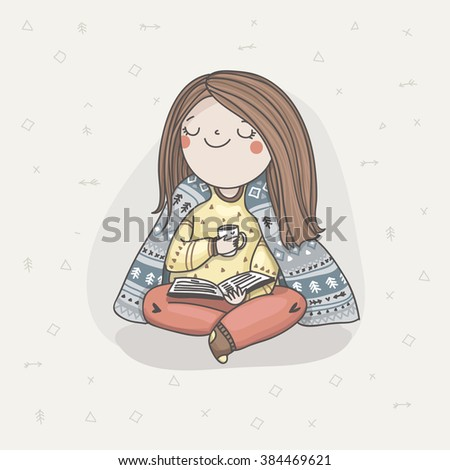 Pretty young mother reading a book and drinking tea. Harmony and relax - stock vector