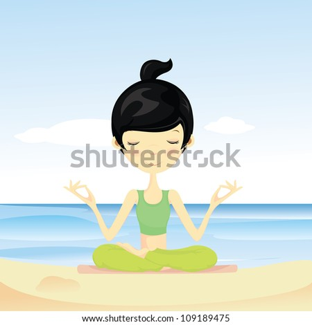 Pretty young woman doing yoga at the beach - stock vector