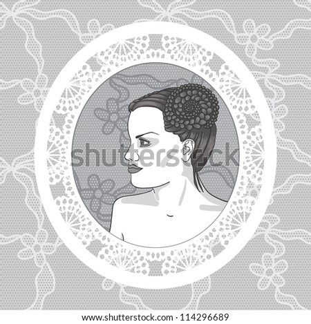 Pretty young woman in vintage lacy frame - stock vector