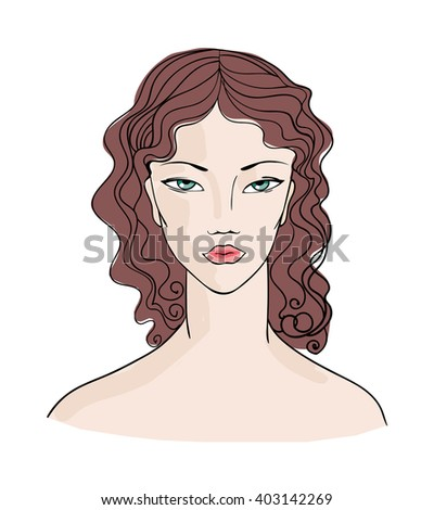 pretty young woman with curly hair. vector sketch 1