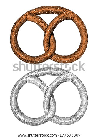 Pretzel in engraving style - stock vector
