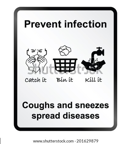 Prevent infection public health information sign isolated on white background - stock vector
