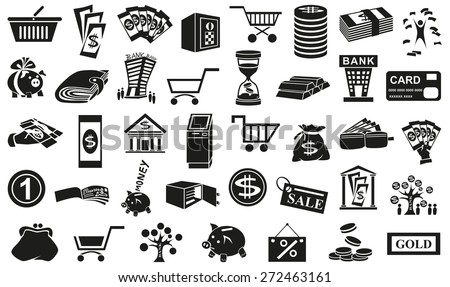 Preview black icons in  white background with  subject of money. - stock vector