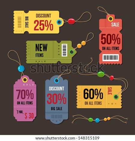 Price and discount tags retro color design, vector illustration. - stock vector