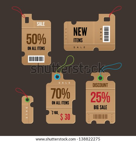 Price and sale tags retro color design, vector illustration. - stock vector