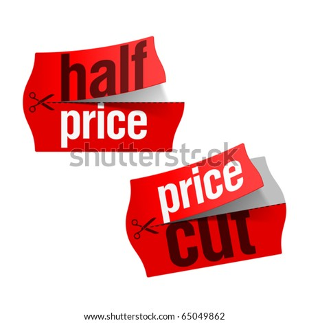 Price cut and Half price stickers. Vector. - stock vector