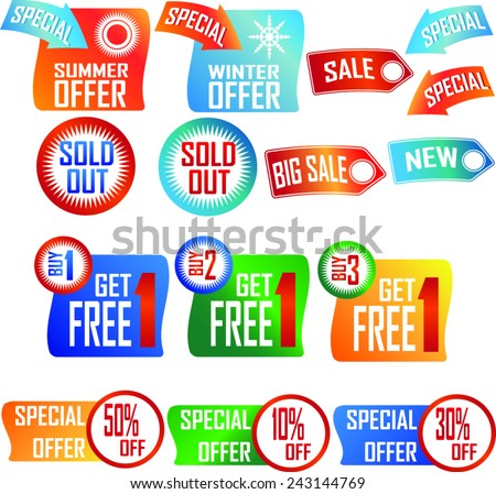 Price labels and banners, isolated from background.  - stock vector