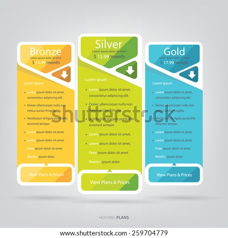 Price list, hosting plans and web boxes banners design. - stock vector