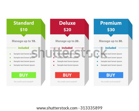 Price List Widget Boxes with Pricing Plans - stock vector