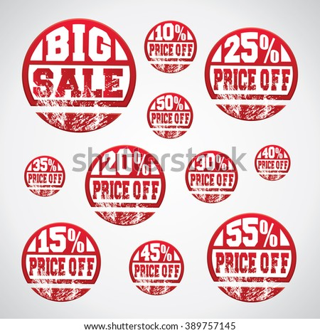Price off tag, sticker set with percentage discounts and grungy ink splatter on them - stock vector
