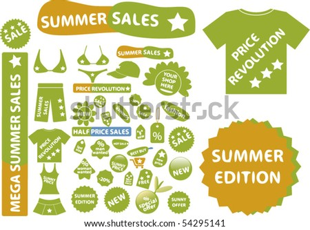 price revolution shopping stickers. vector