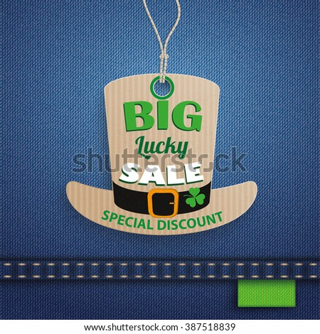 Price sticker on the jeans background for St. Patrick's Day Sale. 10 vector file. - stock vector