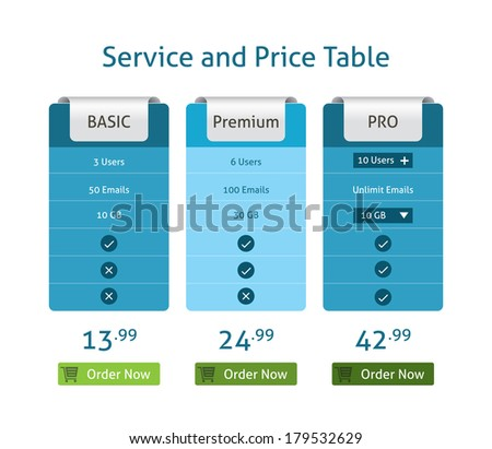 Price table - stock vector