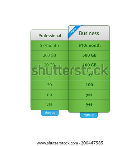 Price table template for hosting company. Vector illustration