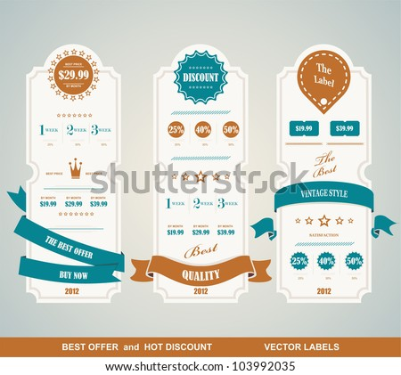 Price table vintage - stock vector