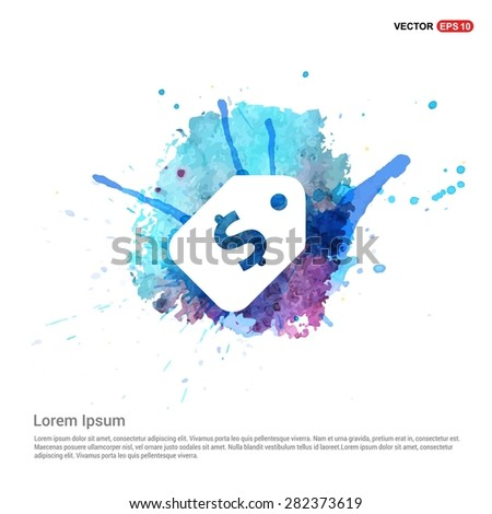 Price tag icon with dollar sign - abstract logo type icon - Blue water color Paint splash beautiful background. Vector illustrationmale user - stock vector