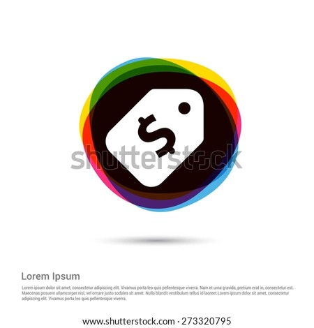 Price tag icon with dollar sign., White pictogram icon creative circle Multicolor background. Vector illustration. Flat icon design style - stock vector