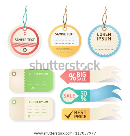 price tag Pastel color - stock vector