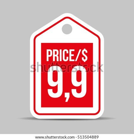 Price tag vector red