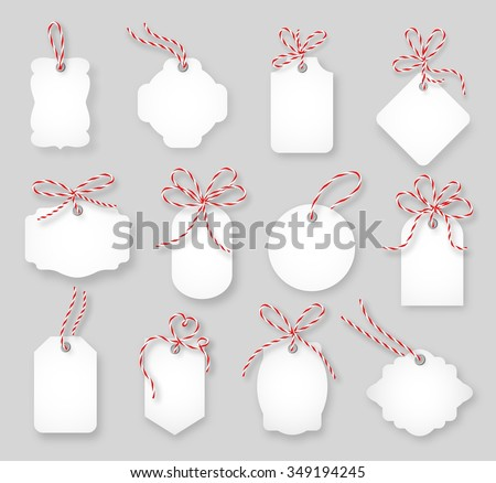 Price tags and gift cards tied up with twine bows set. Label paper, sale design, tring knot, vector illustration - stock vector