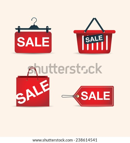 price tags and shopping bag, sale, vector, shopping - stock vector