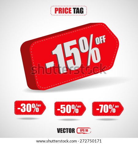 price tags 3D,discount -15%,-30%,-50%,-70% - vector - stock vector