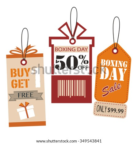 Price Tags Design Set. Boxing Day Price Tags Design. vector illustrator - stock vector