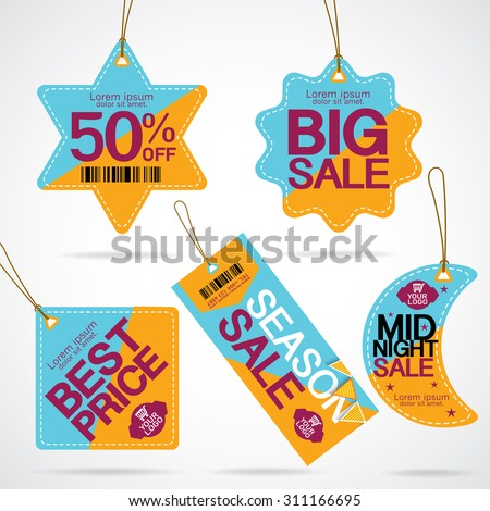 Price tags design with best discount offers, special price, Template background, Vector EPS10.Vector EPS10. - stock vector