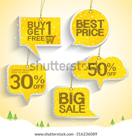 Price tags speech bubbles design with best discount offers, special price, Template background, Vector EPS10.Vector EPS10. - stock vector