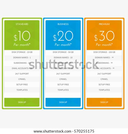 Pricing Table Three Plans Basic Standard Stock Vector 557773360