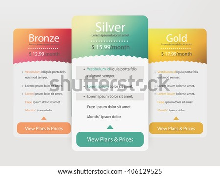Pricing plans for websites and applications. Hosting table banner. Vector illustration - stock vector