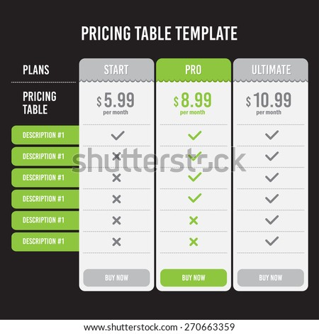 Pricing Table Template with Three Plan Type - Start Pro and Ultimate Graphic Design in vector. - stock vector