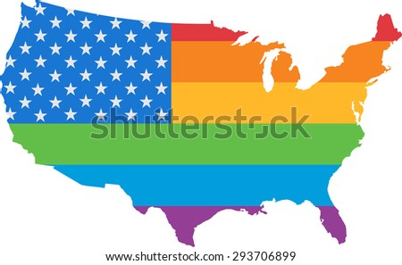 Pride Map and Flag of The United States of America