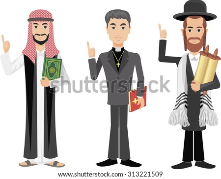 priest,  mullah, rabbi. - stock vector