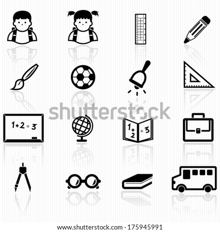 primary school icons - stock vector