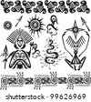 primitive african pagan figures and symbols - stock vector