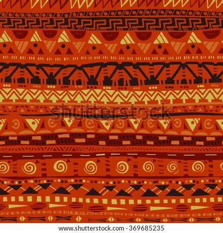 primitive folk african geometric seamless pattern - stock vector