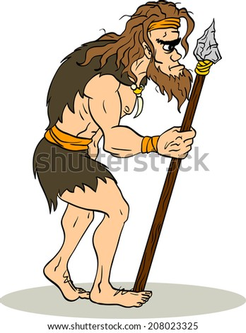 Primitive man is in profile with a spear. Isolated illustration of prehistoric man. - stock vector