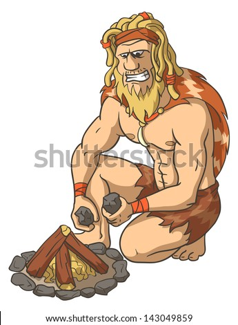 Primitive man kindles a fire. Extraction of fire. The isolated illustration. - stock vector