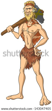 Primitive man stands with an ax on his shoulder. The isolated illustration. - stock vector