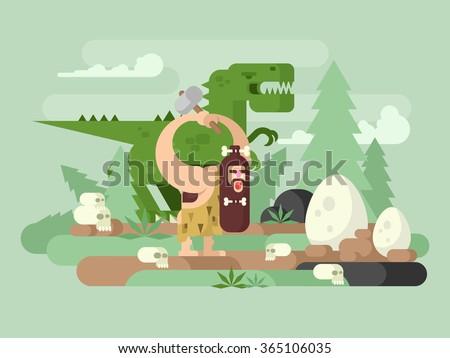 Primitive man with dinosaur - stock vector
