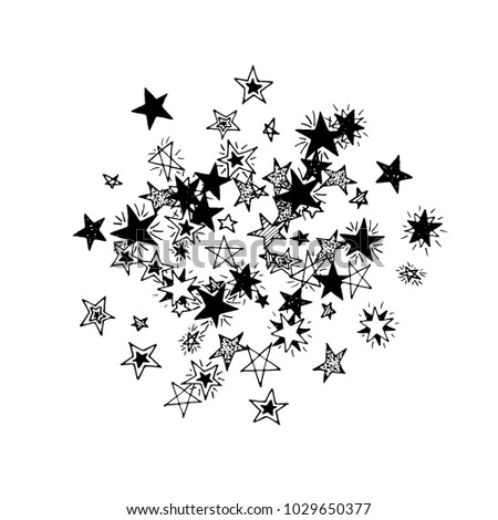 Primitive Stars Doodle Background In Childish Style Cute Scribbled Drawing Simple Pattern With