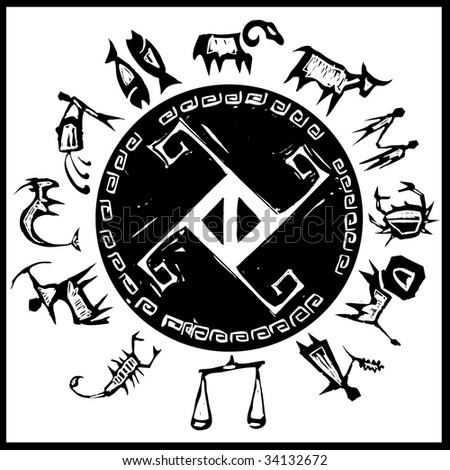 Primitive woodcut series of western zodiac symbols. #2
