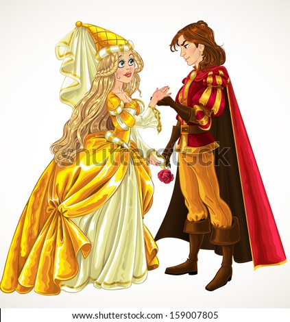 Prince and Princess in love - stock vector