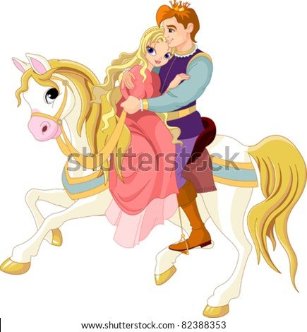 Prince and princess  on white horse - stock vector