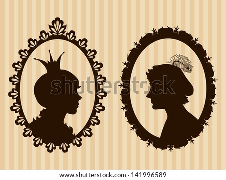 Prince and princess silhouettes - stock vector