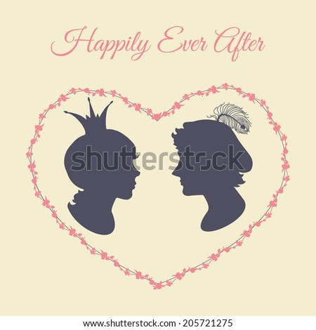 Prince and princess vector silhouette portraits in heart shaped floral frame - stock vector